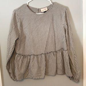 Soft striped button back blouse